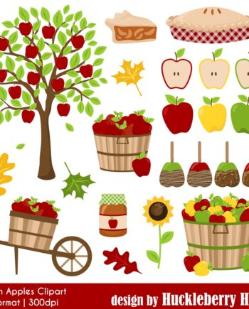 Autumn Apple Clipart Set