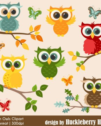 Autumn Owls Clipart