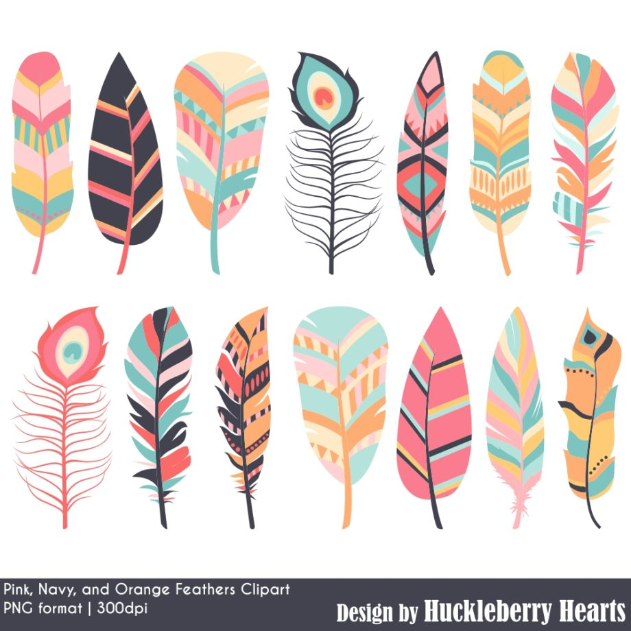 Pink Navy And Orange Feather Clipart Sample