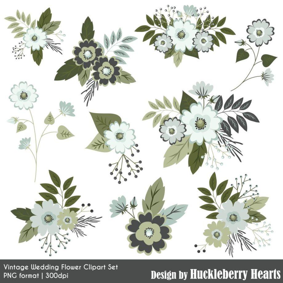 Vintage Wedding Flowers Clipart Sample