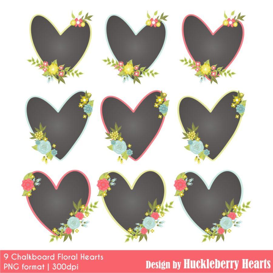 Chalkboard Hearts Clipart