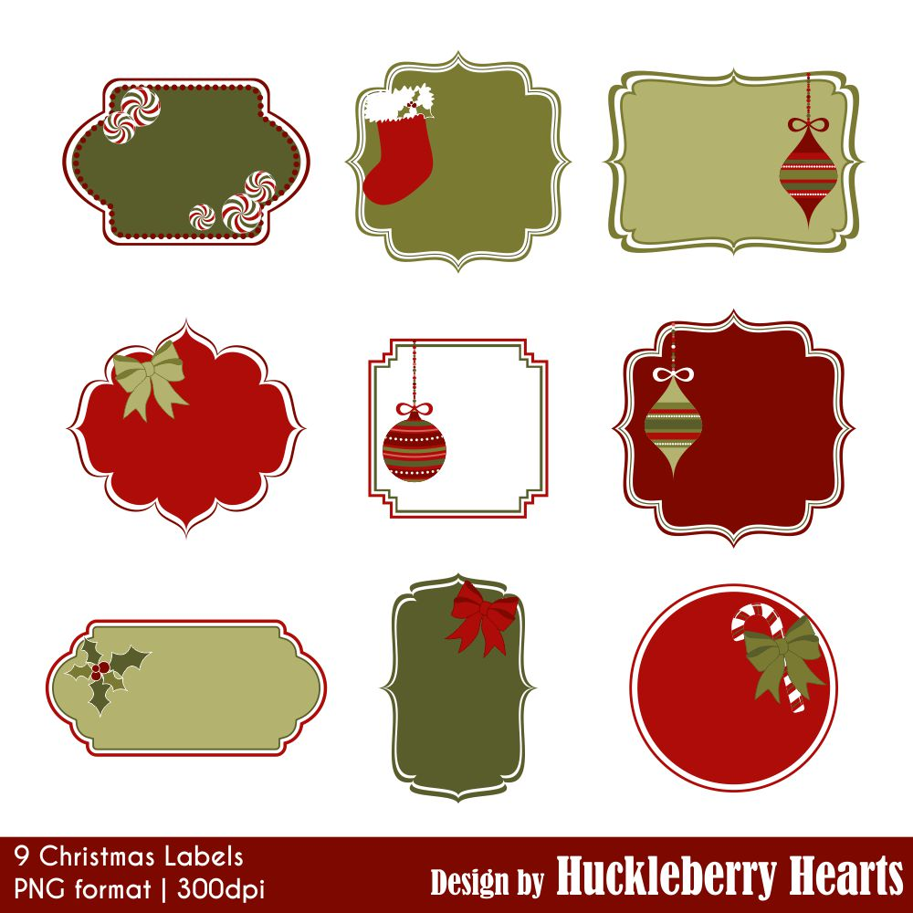 christmas labels clipart huckleberry hearts