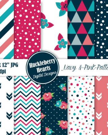 Navy And Pink Patterns Paper