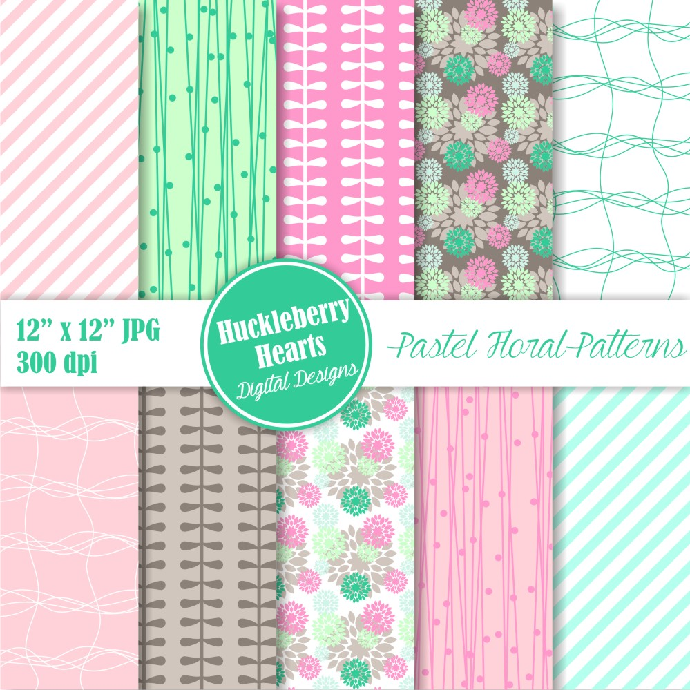 Pastel Floral Patterns Huckleberry Hearts