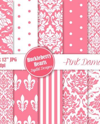 Pink Damask Paper