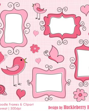 Pink Doodle Frames and Clipart