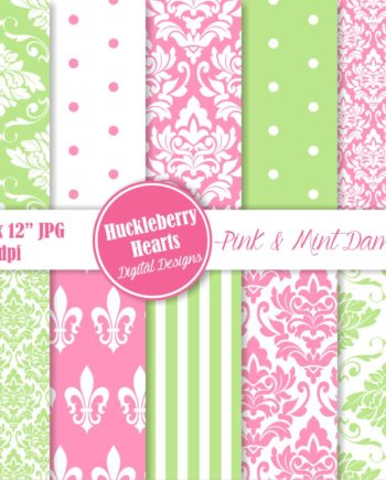 Pink and Mint Damask Paper