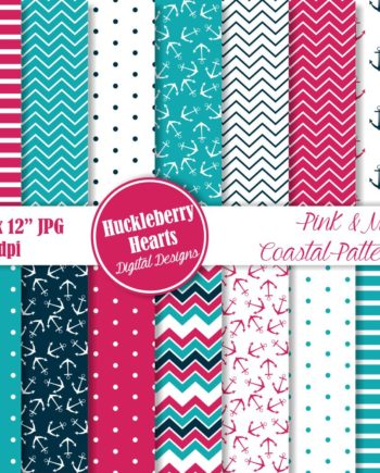 Pink and Navy Coastal Patterns Paper