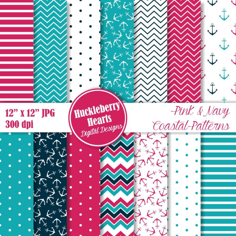Pink and Navy Coastal Patterns Paper