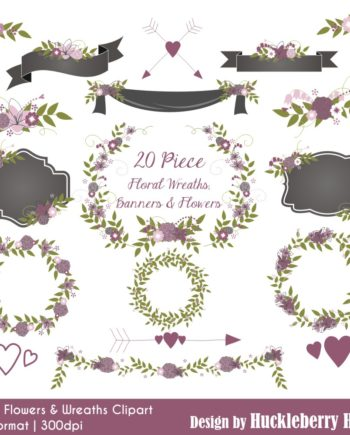 Purple Flowers and Wreaths Clipart
