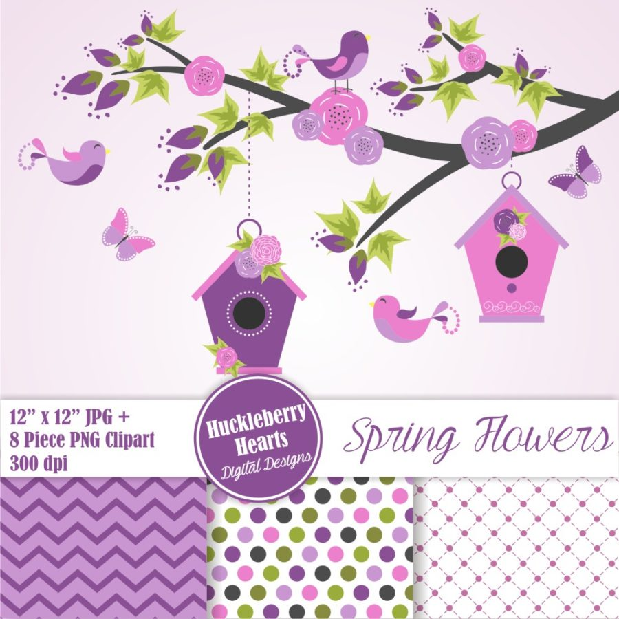Purple Spring Flowers Paper