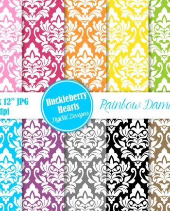 Rainbow Damask Paper