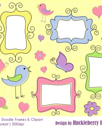 Spring Doodle Frames and Clipart