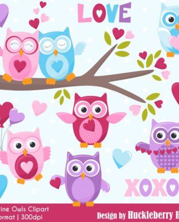Valentine Owls Clipart