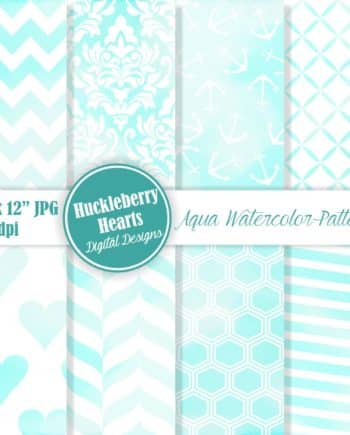 Aqua Watercolor Patterns Digital Paper