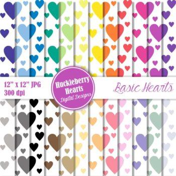 Basic Hearts Digital Paper