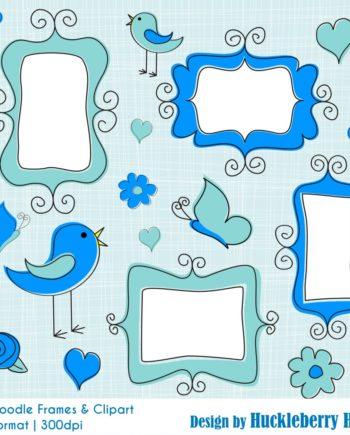 Blue Doodle Frames and Clipart