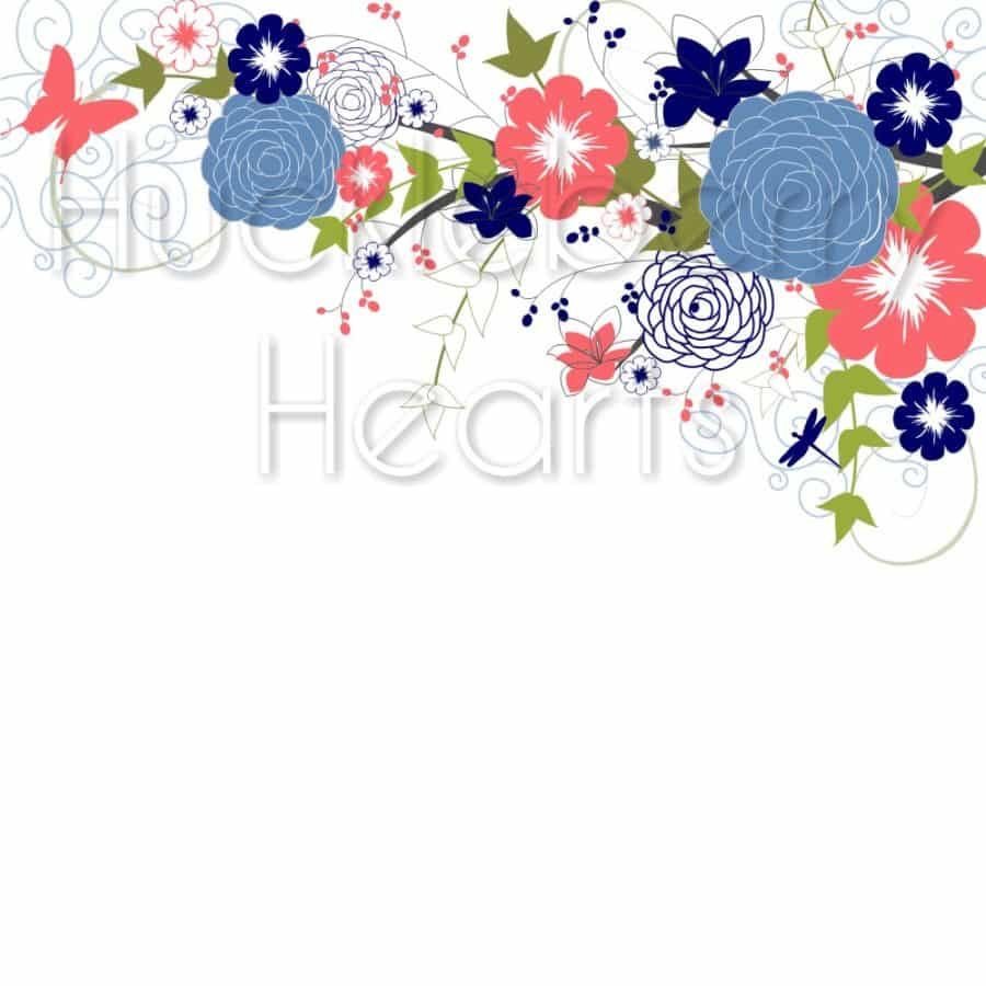 Navy and Coral Flowers and Mason Jar Clipart