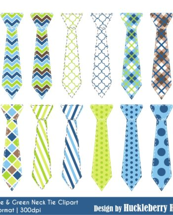 Blue and Green Neck Tie Clipart