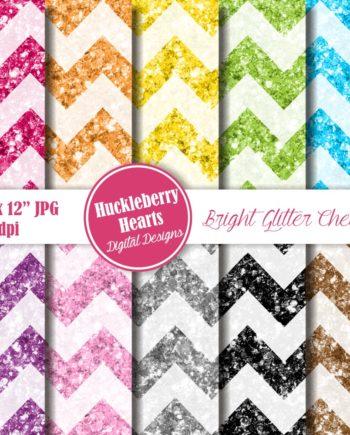 Bright Glitter Chevron Paper