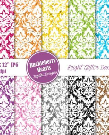 Bright Glitter Damask Paper
