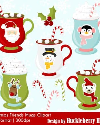 Christmas Friends Mugs Clipart