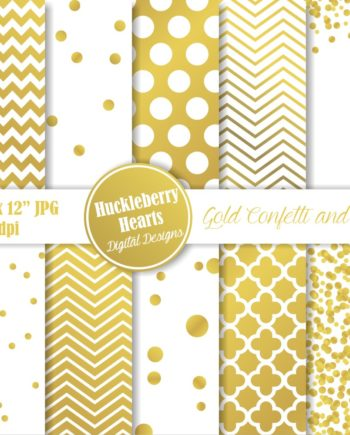 Gold Confetti and Foil Digital Paper