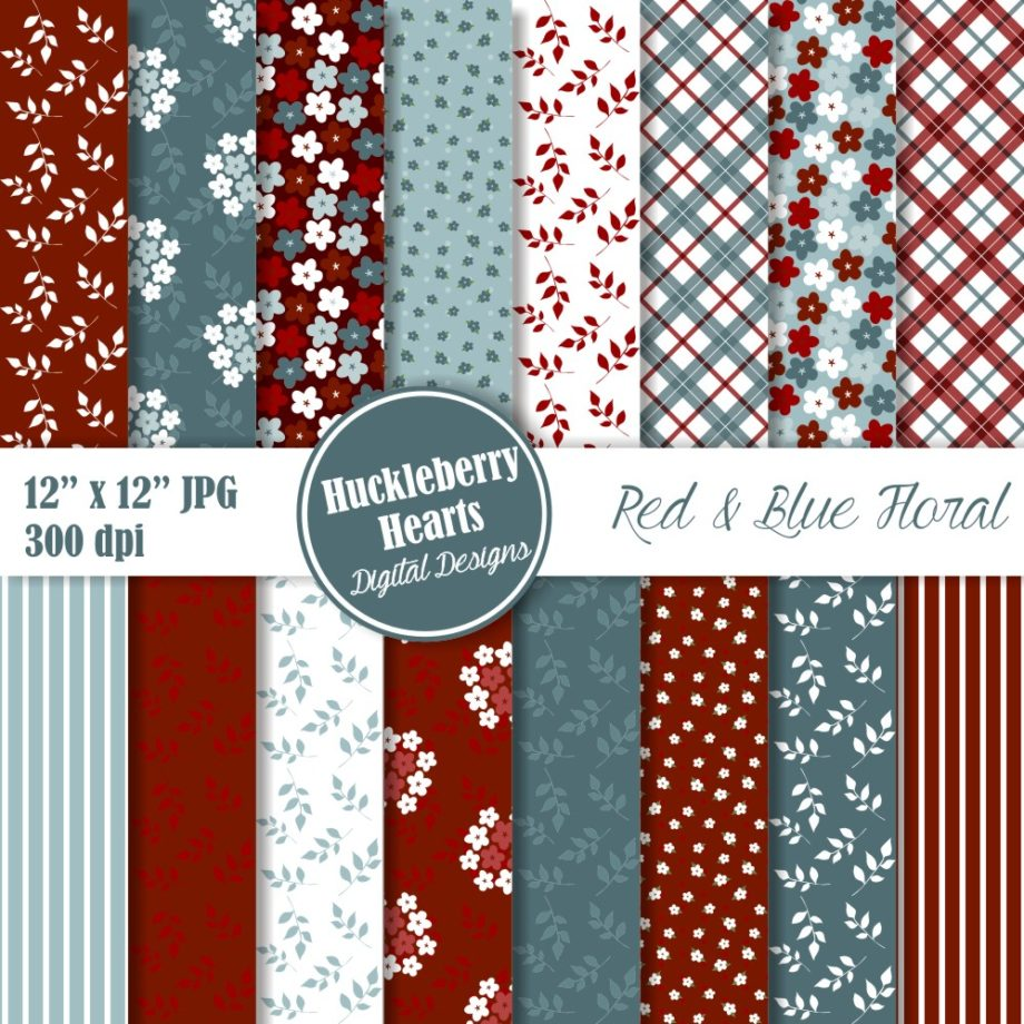 Red and Blue Floral Paper