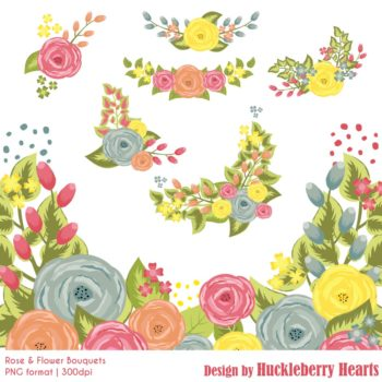 Rose and Flower Bouquets Clipart