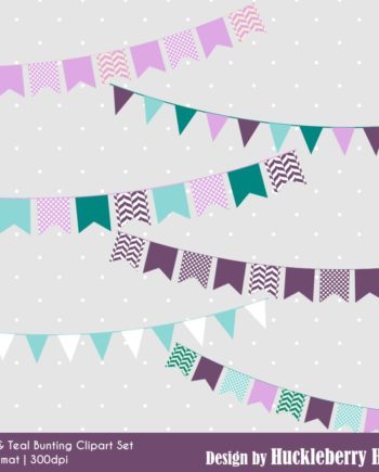 Purple and Teal Bunting Clipart