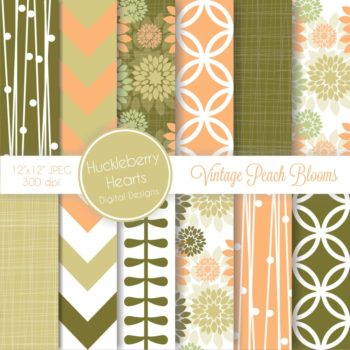 Vintage Peach Blooms Digital Paper