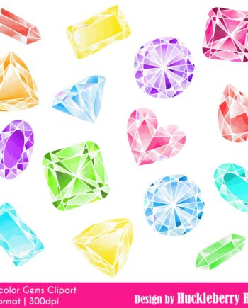 Watercolor Gems Clipart