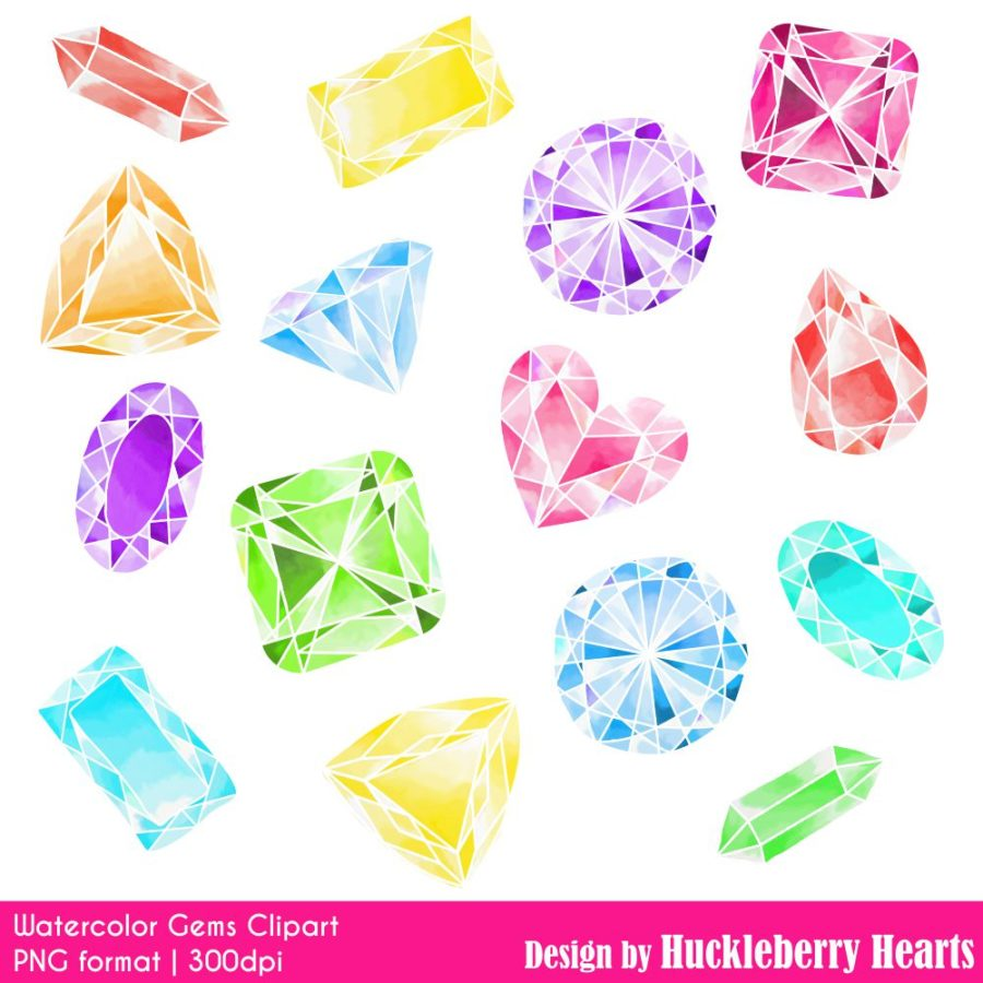 Watercolor Gems Clipart