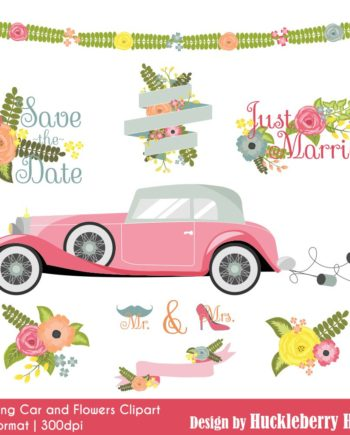Wedding Car and Flowers Clipart