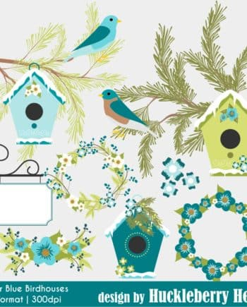 Winter Blue Birdhouses Clipart