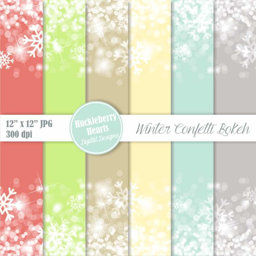 Winter Confetti Bokeh Digital Paper
