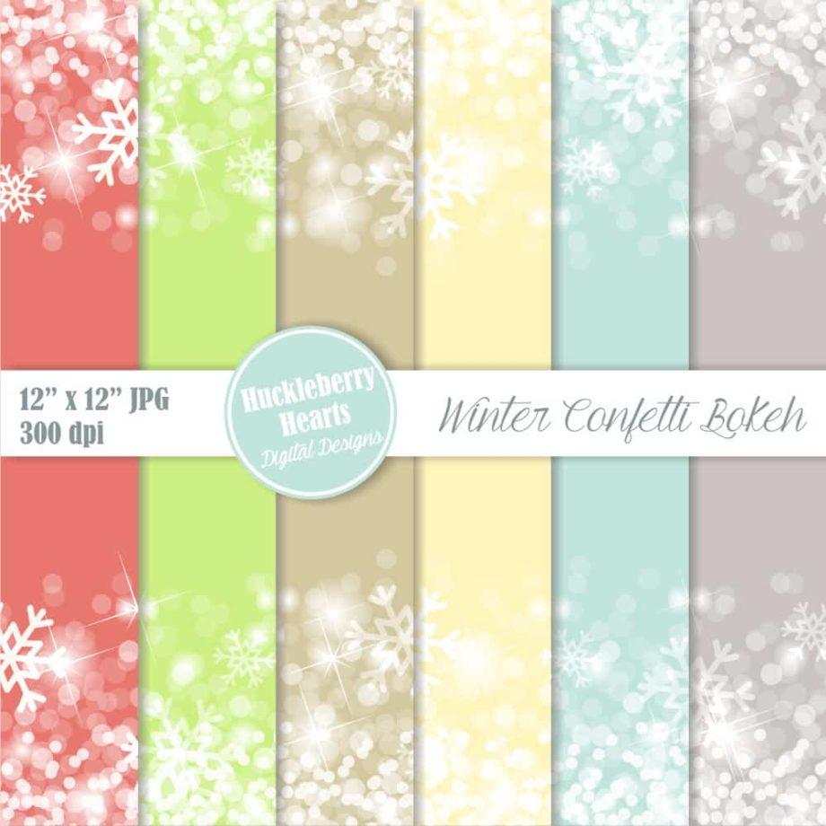 Winter Confetti Bokeh Digital Paper