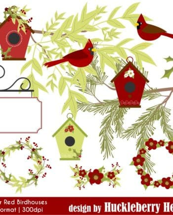 Winter Red Birdhouses Clipart