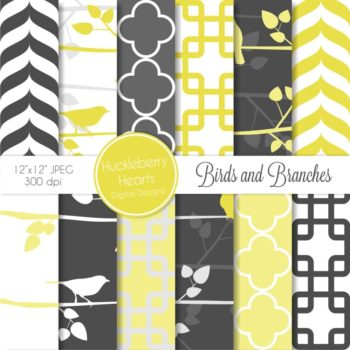 Yellow Birds and Branches Digital Paper