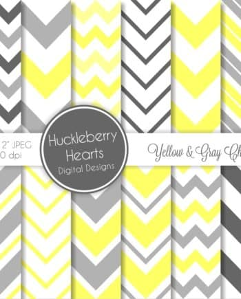 Yellow and Gray Chevron Digital Paper