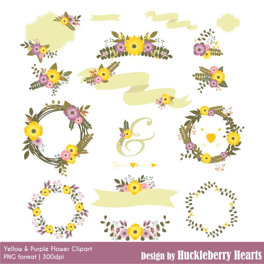 Yellow and Purple Flower Clipart
