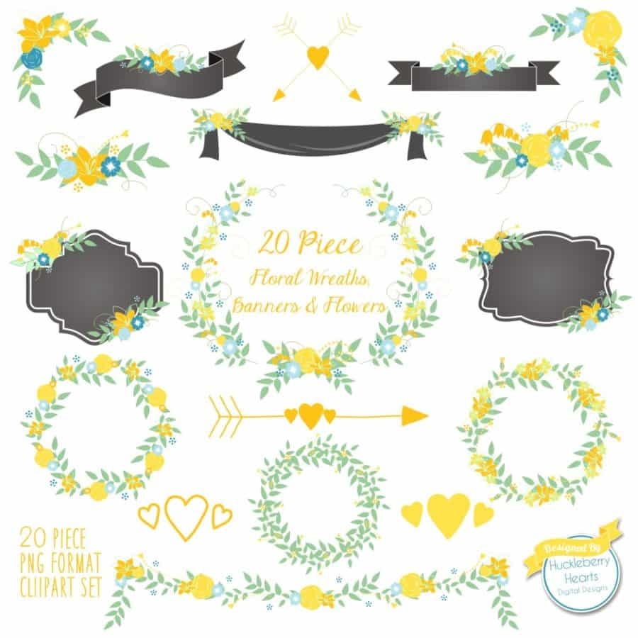 Yellow Floral Wreaths Banners and Flowers Clipart