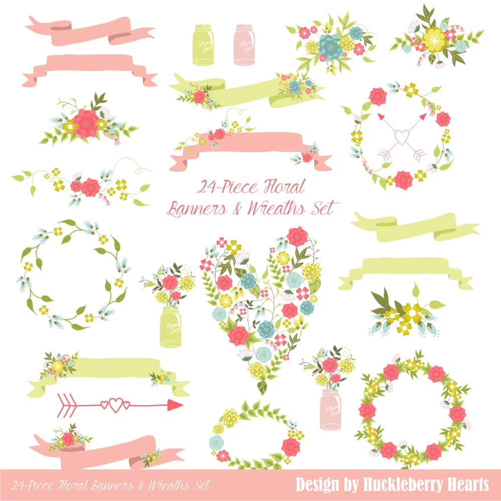 Pink and Green Floral Banners and Wreaths Clipart