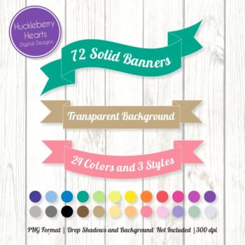 72 Solid Banners Clipart