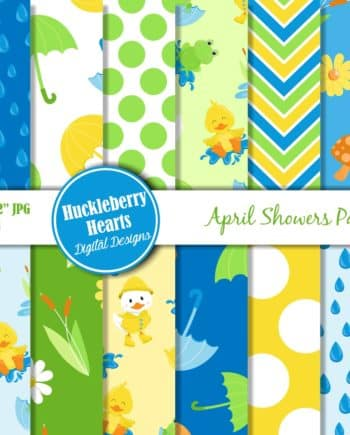 April Showers Digital Scrapbook Paper