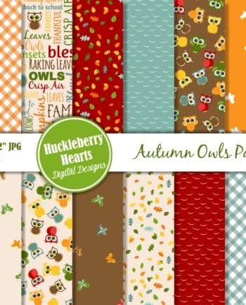 Autumn Owls Digital Scrapbook Paper