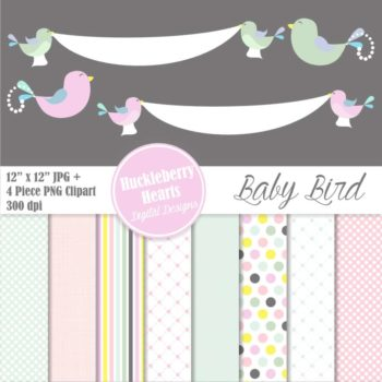 Baby Bird Digital Scrapbook Paper
