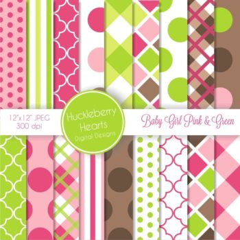 Baby Girl Pink and Green Digital Paper