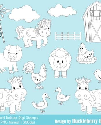 Barnyard Babies Digital Stamps Clipart