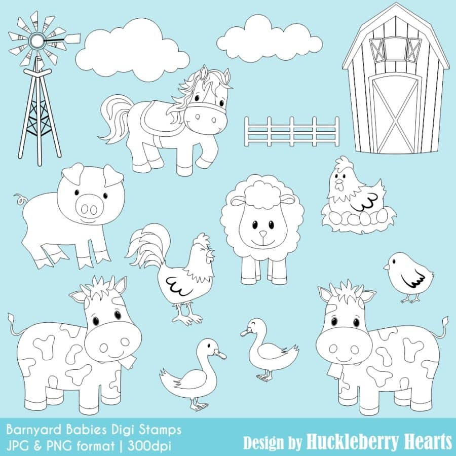 Barnyard Babies Digital Stamps Clipart